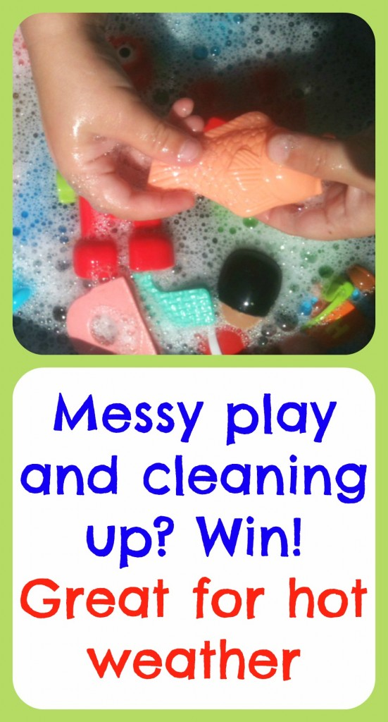 Messy play in the garden: keeps kids cool too!