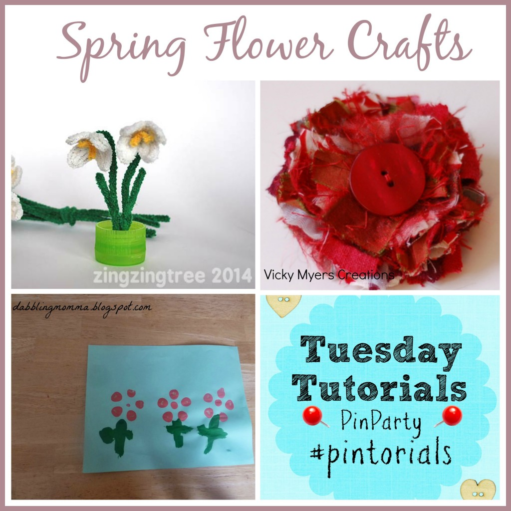 Spring flower crafts tutorials linky and pin party