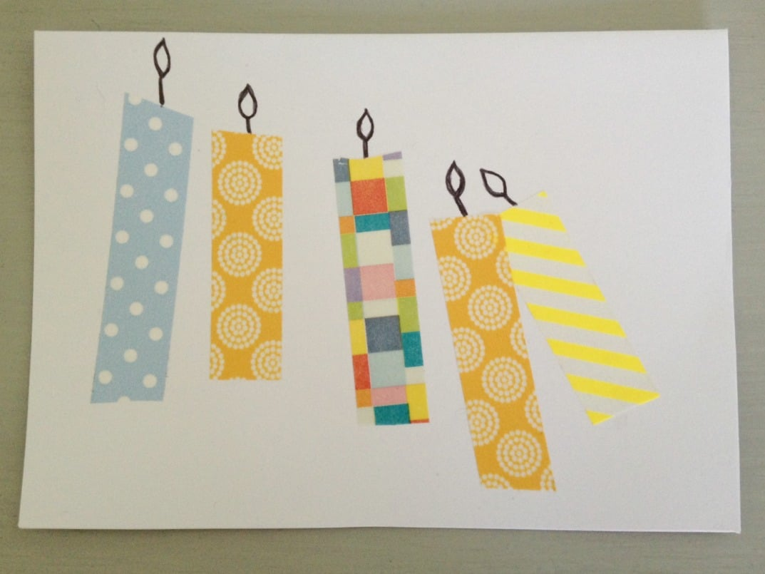 Washi tape birthday card crafts on sea washi tape birthday card bookmarktalkfo Image collections