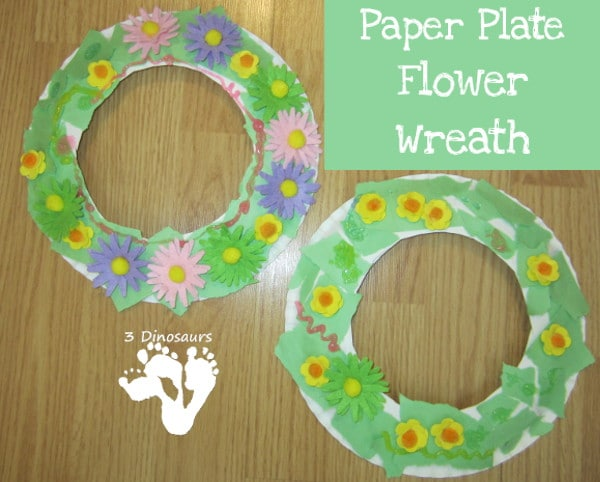 paper plate flower wreath
