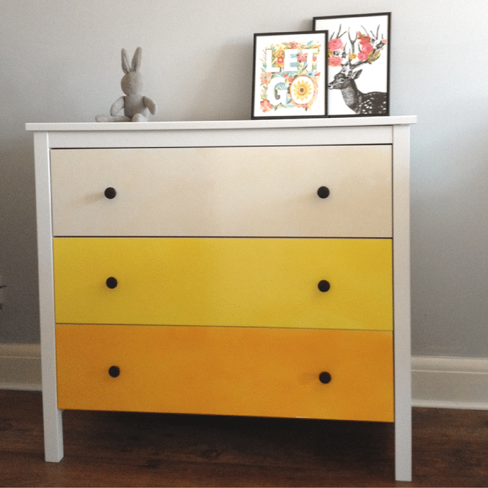 ombre chest of drawers ikea hack