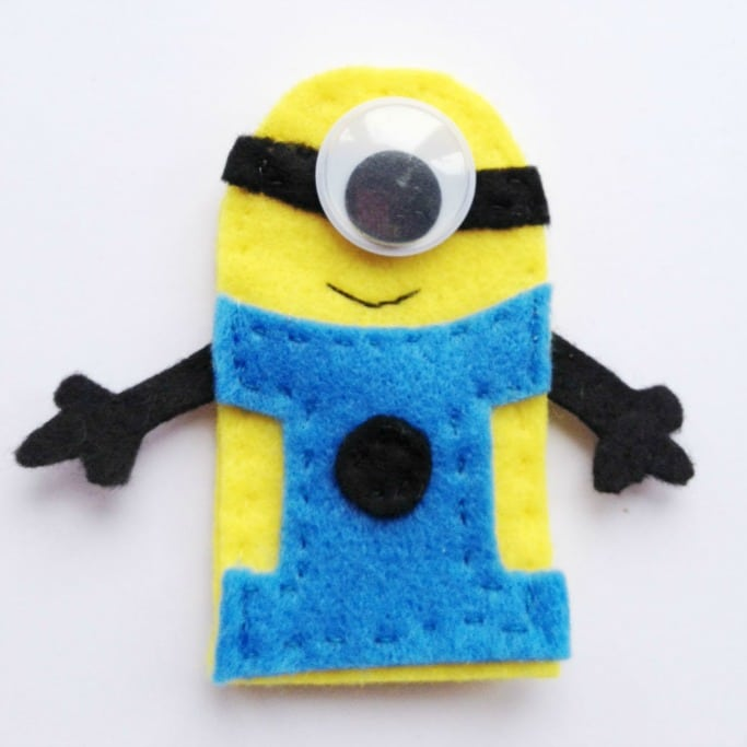 minion finger puppet with one eye