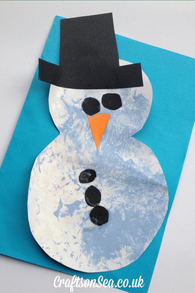 bubble wrap snowman craft for preschoolers