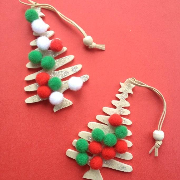 pom pom christmas tree ornaments for kids