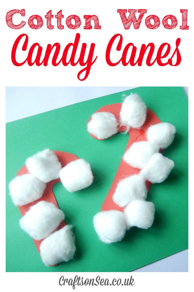 Cotton Wool Candy Cane Crafts for Preschoolers