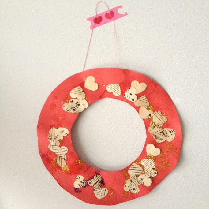 kids valentines day wreath craft