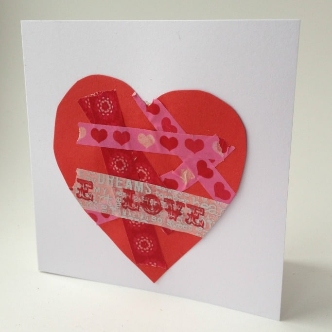 washi tape valentine card for kids