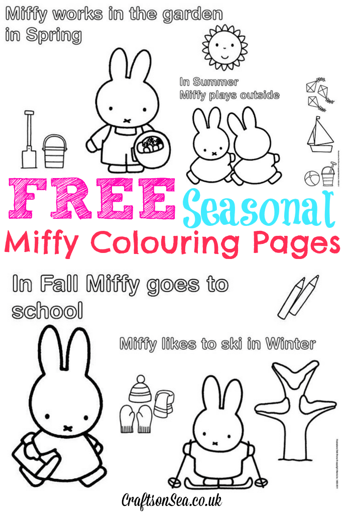 Free Miffy Colouring Pages and Miffy\'s Birthday! - Crafts on Sea